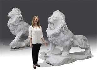 """(2) Carved marble entryway lions, 53""""h"""