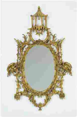 """Chinese Chippendale style gilt wall mirror, 52""""h"""