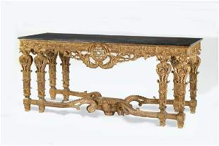 Italian Baroque style marble top giltwood table