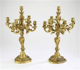 (2) 19th c. French gilt bronze candelabra