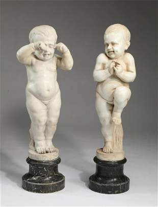 (2) Continental carved marble sculptures of children