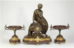 Fine 19th c. dore bronze and rouge marble clock set