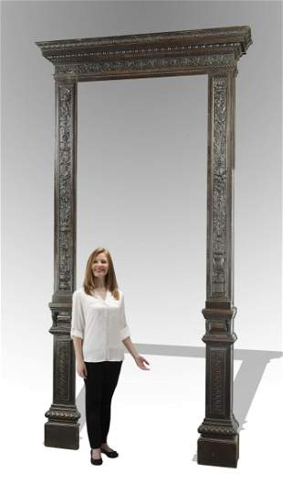 19th c. Italian carved and ebonized entryway surround