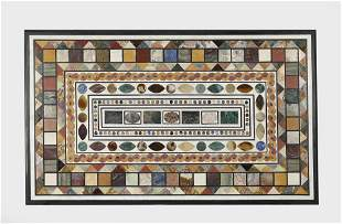 """Pietra dura inlaid marble table top, 59""""l"""