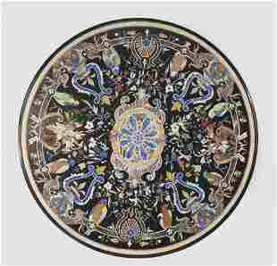 "Pietra dura inlaid marble table top, 60"" diam"