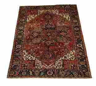 Hand knotted wool Persian Heriz, ca 1940, 13 x 12