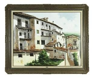 Jose Barbera signed O/c Mediterranean village scene