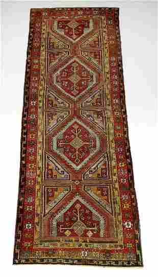 Hand knotted wool Turkish runner, ca 1920, 13' long