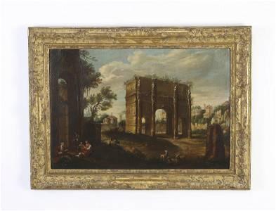 18th c. Italian O/c Capriccio scene, attr to Bellotti