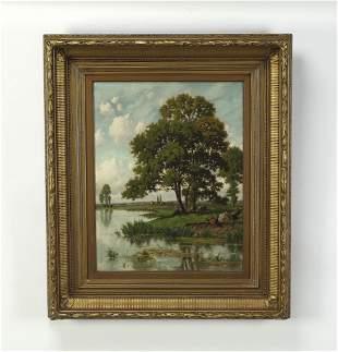 19th c. Continental O/c idylic landscape, signed