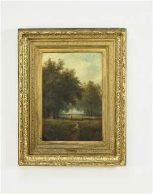 19th c. O/c pastoral landscape, signed J.C. Durand