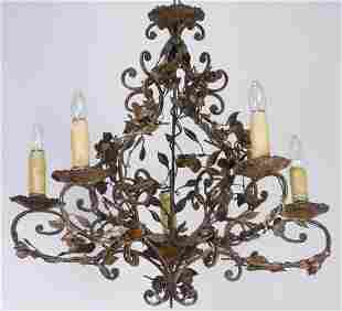 Early 20th c. French 5-light patinated chandelier