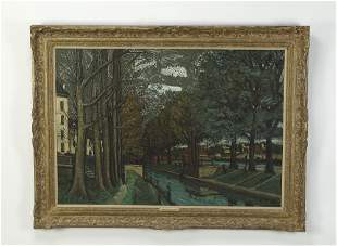 Leon Alphonse Quizet signed O/c, French canal scene