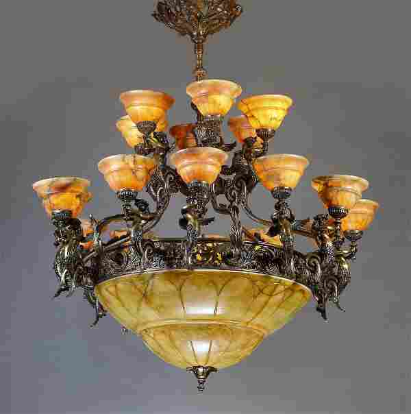 "Continental alabaster and bronze chandelier, 53""h"