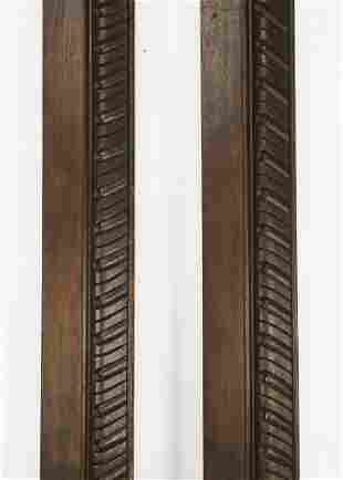 """(2) Late 19th c. carved oak moldings, each 77""""l"""