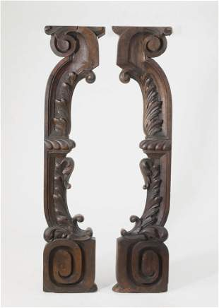 (2) 19th c. Continental carved brackets