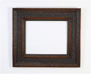 19th c. Italian carved frame with lattice border