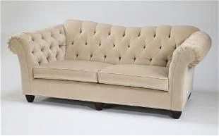 """Custom made Chesterfield sofa in velvet, 82""""l"""