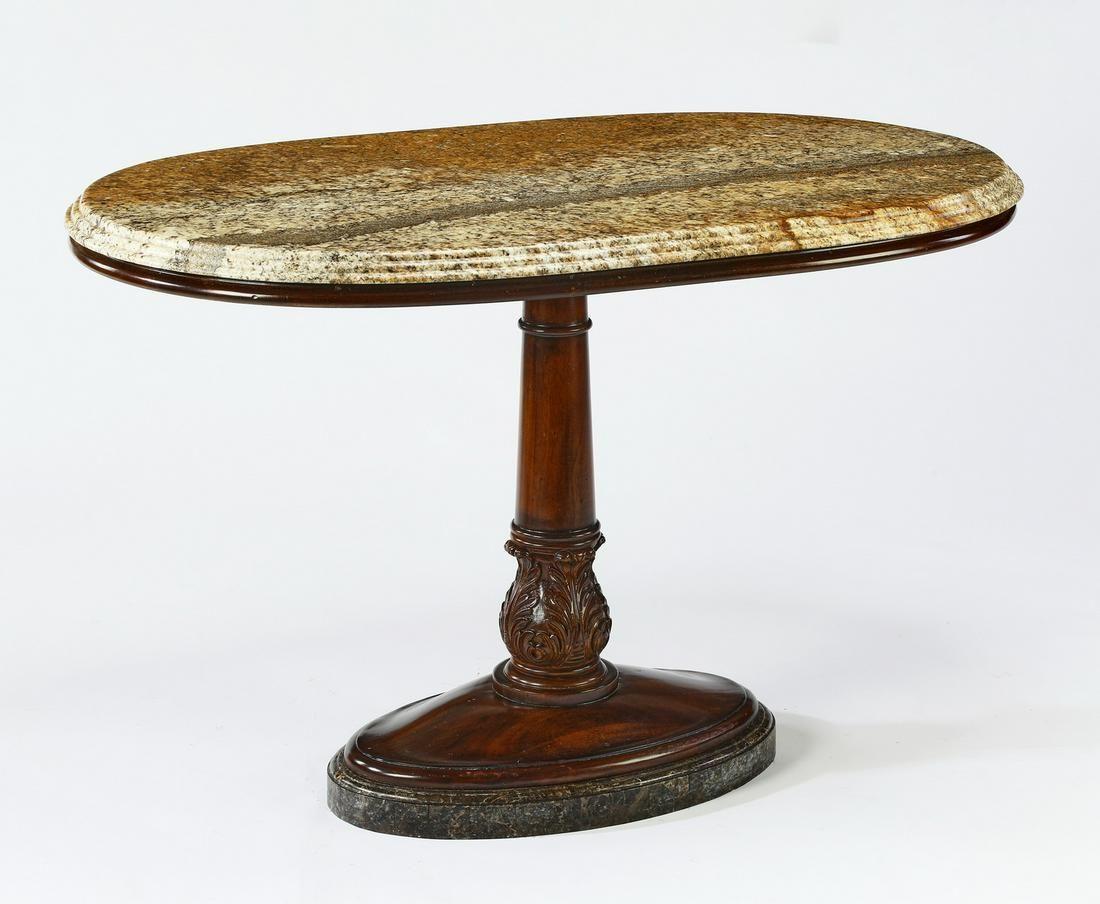 Maitland-Smith granite top mahogany pedestal table