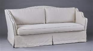 """Custom sofa in linen upholstery, 83""""l"""