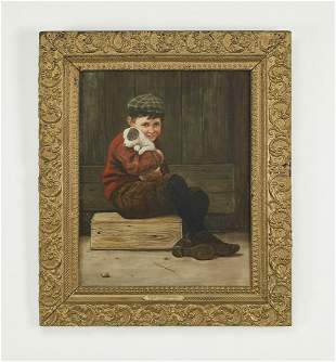 Signed O/c portrait of a boy and puppy