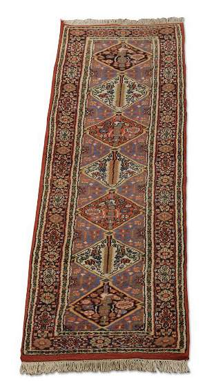 Hand knotted Indo-Persian runner, 10' long