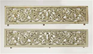 """(2) Continental carved acanthus panels, each 50""""l"""