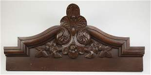 """Early 20th c. carved architectural element, 56""""w"""