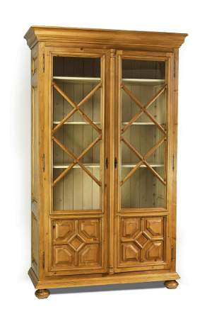 Oversized bookcase crafted from antique French pine