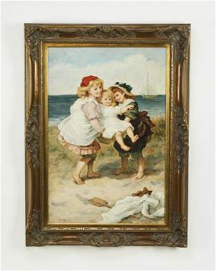 Signed O/c portrait of young girls on a sandy beach