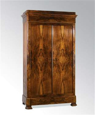 19th c.Continental Biedermeier style rosewood armoire