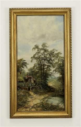 19th c. British School O/c landscape with cottage