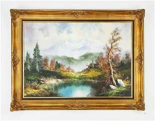"Signed Yvette St. Laurent O/c landscape, 48""w"