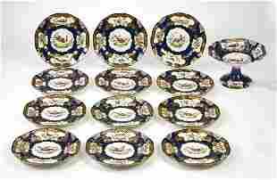 (13 pcs) Pirkenhammer porcelain dinnerware, 19th c.