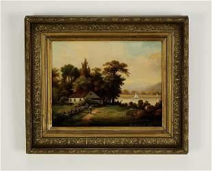 19th c. signed, dated American School O/b landscape