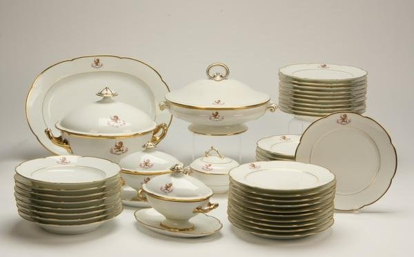 9: Limoges china 67-piece set w/ royal insignia