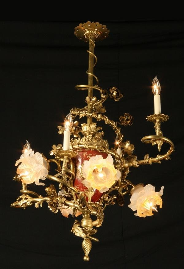 14: 19th c. dore' bronze and porcelain chandelier