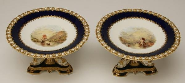 17: 19th c. English porcelain compotes