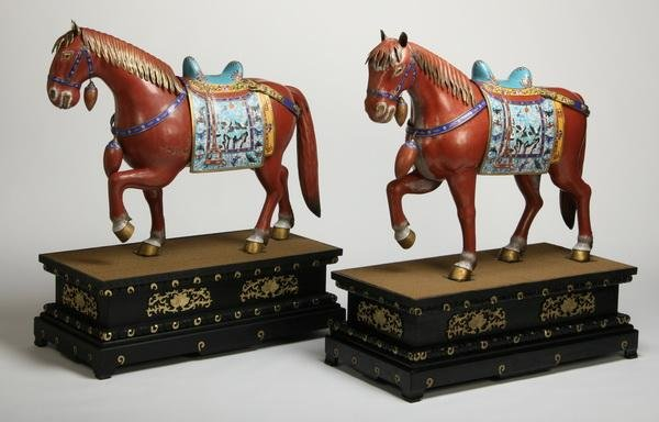"""19: Oversized cloisonne' horses on stands, 49""""h"""