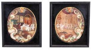 143: Pair of 18th c. French majollica wall plaques