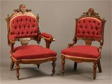 185: Pair of 19th c. Victorian parlor chairs