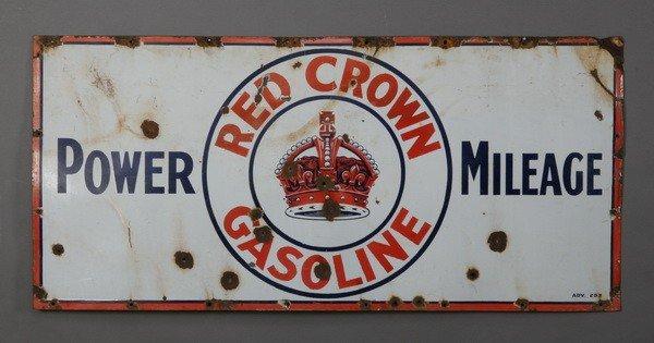 """3: Rare Red Crown Gasoline porcelain sign, 60"""""""