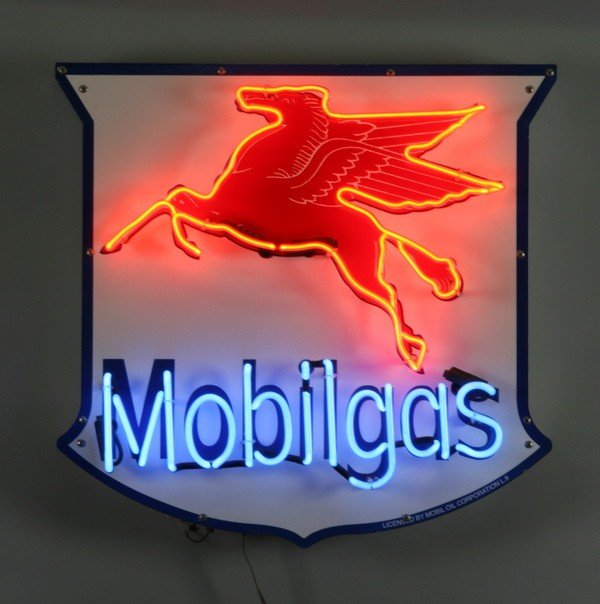 4: Neon Mobilgas with Pegasus wall sign