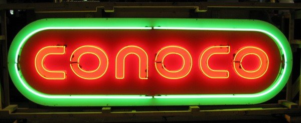 10: Rare oversized Conoco porcelain and neon sign