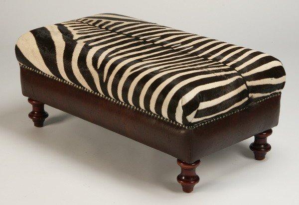 16: Ottoman upholstered in zebra skin hide