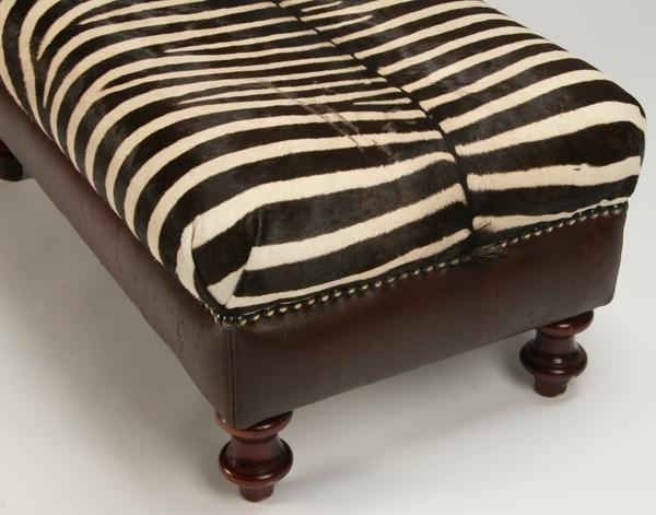 16: Ottoman upholstered in zebra skin hide - 2