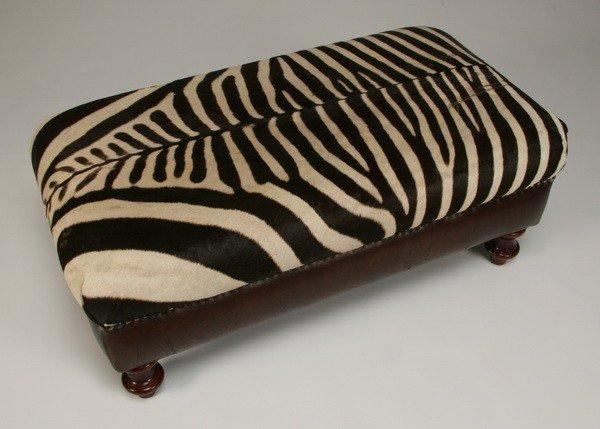16: Ottoman upholstered in zebra skin hide - 3