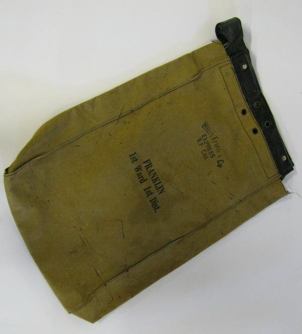 149: Canvas courier bag, marked Wells Fargo