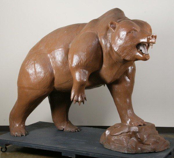 156: Lifesize zinc bear sculpture