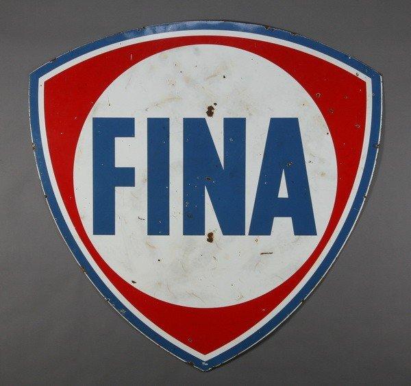 """159: FINA Gasoline porcelain sign, 74"""" high"""